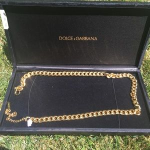 Dolce & Gabbana Gold Chain Belt With Box and Bag